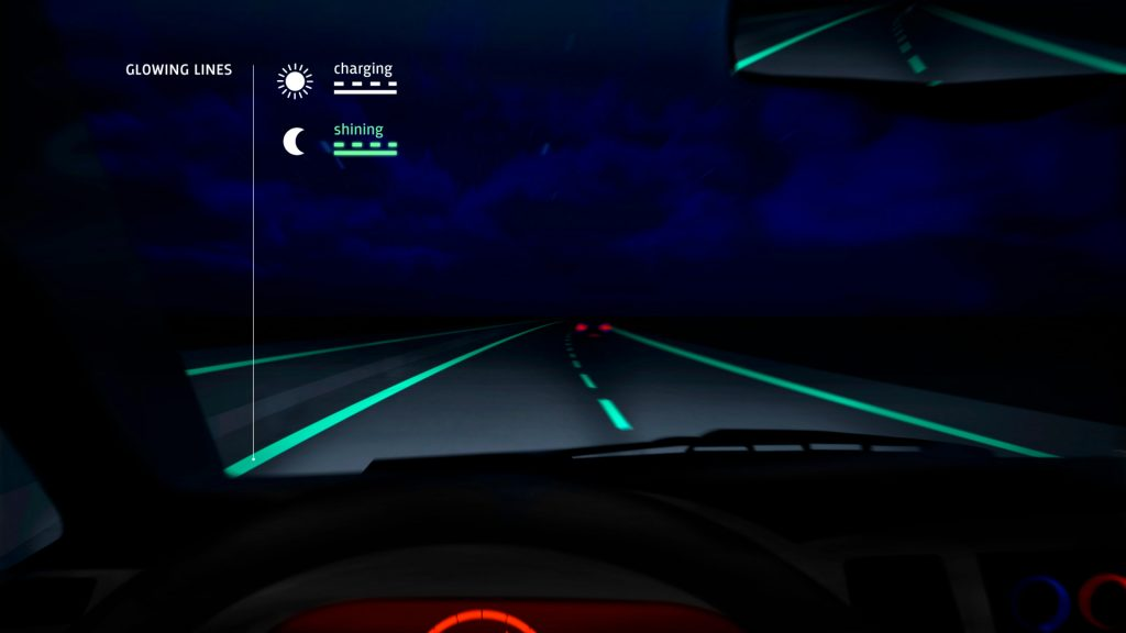 Smart highway glowing lines by Studio Roosegaarde